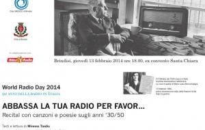 """Oggi il Club Unesco celebra il World Radio Day con il recital """"Abbassa la tua radio per favor…"""""""