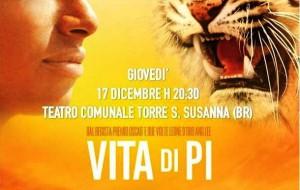 """Rassegna """"Cine Qua Non"""": giovedì """"Vita di Pi"""" al Teatro Comunale di Torre S. S.nna"""