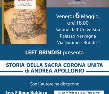 """Domani si presenta il libro """"Storia della sacra corona unita"""" di Andrea Apollonio"""