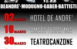 Musica in scena: al Susumaniello spettacoli teatrali dedicati a De Andrè, Modugno, Gaber e Battisti