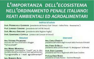 """Venerdì 17 ad Ostuni il convegno """"L'importanza dell'ecosistema nell'ordinamento penale italiano"""""""