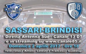 Sassari-Brindisi in diretta su Antenna Sud (Canale 13) e newbasketbrindisi.it