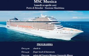 Lunedì 10 il primo approdo della MSC Musica nel Porto di Brindisi