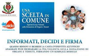 """Aido: """"cantonata di Democrazia Solidale. All'anagrafe di Brindisi attivo da tempo il consenso donazione organi"""
