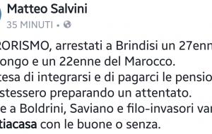 """Salvini sull'operazione antiterrorismo della Digos di Brindisi: """"#tuttiacasa con le buone o senza"""""""