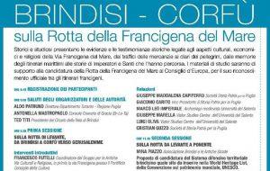 Brindisi-Corfù: sulla rotta della Via Francigena del Mare: lunedì 5 interessante convegno a Brindisi