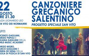 Domani il Canzoniere Grecanico Salentino in Piazza Leo a San Vito dei Normanni