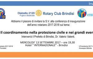 """Il Rotary apre il nuovo anno con la conferenza del Prefetto Valente su """"Il coordinamento nella protezione civile e nei grandi eventi"""""""