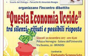 Questa Economia Uccide: se ne parla il 30 Novembre a Palazzo Nervegna