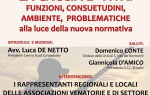 """A San Vito conferenza su """"La Caccia è viva! funzioni, consuetudini, ambiente, problematiche"""""""
