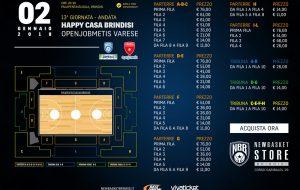 Online i biglietti per Happy Casa Brindisi-Openjobmetis Varese. N.B: Abbonamenti validi
