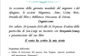 """Ad Ostuni si presenta il libro """"Il vento ha scritto la mia storia"""" di Benyamin Somay"""