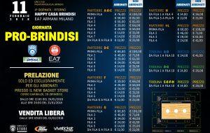 La giornata 'Pro-Brindisi': Happy Casa Brindisi-EA7 Emporio Armani Milano