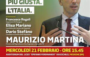 Il Ministro Martina a Mesagne a sostegno del PD e della coalizione di centrosinistra
