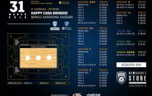In vendita i biglietti per Happy Casa Brindisi-Banco di Sardegna Sassari