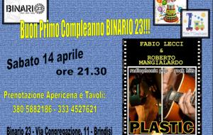 Binario 23 festeggia il suo primo compleanno con i Plastic
