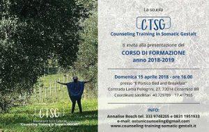 Domenica a Cisternino si presenta il corso di formazione triennale In Counseling Gestaltico Somatico