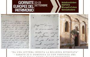 """Gep 2018: da non perdere """"Da una lettera inedita la bellezza ritrovata"""", un percorso esperienziale inedito tra tre siti culturali di Brindisi"""