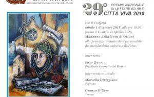 """Sabato 1 la cerimonia di premiazione del Premio Nazionale di Lettere ed Arti """"Città Viva"""" 2018"""