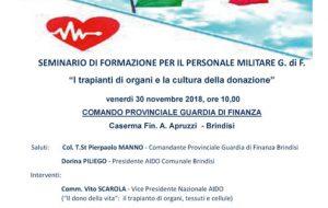 Guardia di Finanza e AIDO Brindisi insieme per sensibilizzare sulla donazione degli organi