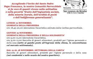 Giornata mondiale dei poveri: le iniziative della Parrocchia San Lorenzo da Brindisi