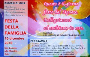 """Diocesi di Oria: """"Famiglie e celebrazione eucaristica domenicale"""" al centro della Festa della Famiglia 2018"""