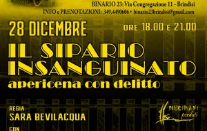 """Meridiani Perduti Teatro presenta """"Il Sipario Insanguinato – Apericena Con Delitto"""""""