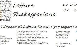Giovedì 20 letture Shakesperiane alla Caffetteria Letteraria Nervegna