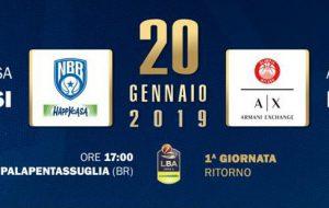 Da domani in vendita i biglietti per Happy Casa Brindisi-Olimpia Milano