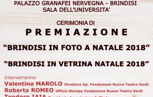 """Domani la Cerimonia di premiazione delle iniziative """"Brindisi In Foto a Natale 2018"""" e """"Brindisi In Vetrina 2018"""""""