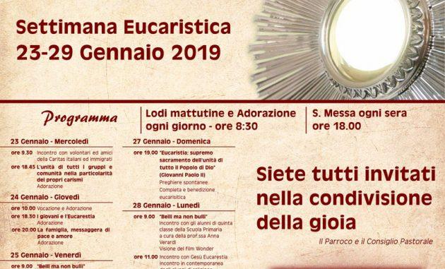 """Latiano: Al via la Settimana Eucaristica 2019 con tema """"Eucarestia, Fonte di Unità e Carità"""""""