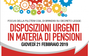 Filctem CGIL: Seminario su Decreto Legge pensioni