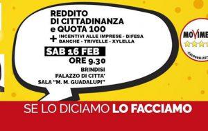 """M5S Brindisi: sabato incontro informativo su """"Reddito di Cittadinanza"""", """"Pensione di Cittadinanza"""" e """"Quota 100"""""""