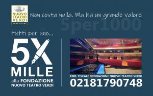 Destina il 5 x 1000 alla Fondazione Nuovo Teatro Verdi: basta una firma per sostenere concretamente la cultura della città di Brindisi