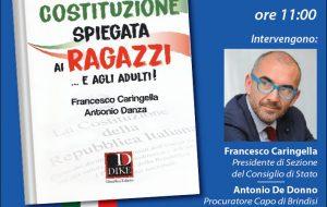 """Venerdì 8 Francesco Caringella presenta a Brindisi il libro """"La Costituzione spiegata ai ragazzi ed agli adulti""""."""