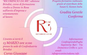 """Domani presso Confindustria Brindisi si presenta il progetto benefico """"Ricomincio da Me"""""""