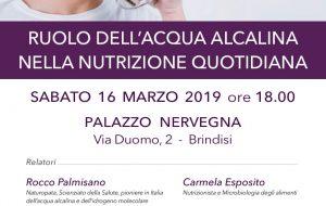 Il ruolo dell'acqua alcalina nella nutrizione quotidiana: se ne parla sabato 16 a Palazzo Nervegna