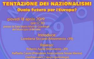 Il sovranismo e la tentazione dei nazionalismi. Quale futuro per l'Europa?: se ne parla giovedì in un convegno organizzato da M+39