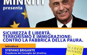 "Lunedì 29 l'On. Marco Minniti presenta a Brindisi il libro ""Sicurezza è libertà"""