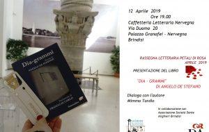 """Stasera Angelo De Stefano presenta il libro di poesie """"Dia – grammi"""" alla Caffetteria Letteraria Nervegna"""
