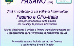 Il Comune di Fasano a sostegno di chi soffre di fibromialgia