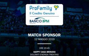 'ProFamily' match sponsor di Brindisi-Trento
