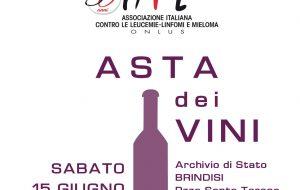 50 anni Ail: sabato 15 asta di beneficenza con grandi vini di Puglia nell'dell'Archivio di Stato di Brindisi
