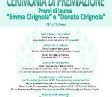 """Sabato 24 la cosegna dei Premi """"Emma Cirignola"""" e """"Donato Cirignola"""""""