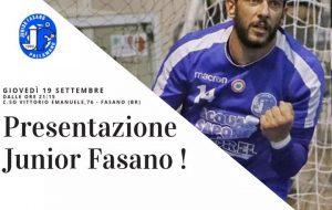 Domani si presenta la Junior Fasano 2019/20