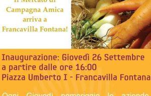 """Da giovedì 26 il mercato di """"Campagna Amica"""" in piazza Umberto I a Francavilla"""