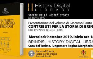 """Mercoledì 9 si presenta il libro """"Contributi per la storia di Brindisi"""" di Giacomo Carito"""