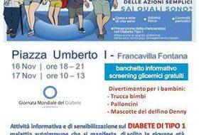 Giornata Mondiale del Diabete: weekend di sensibilizzazione in Piazza Umberto I