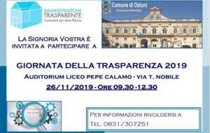 Giornata della Trasparenza 2019: il Comune di Ostuni invita la cittadinanza alla quarta edizione