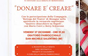 Donare è creare: venerdì 27 serata di beneficenza a favore della Caritas di San Michele S.no